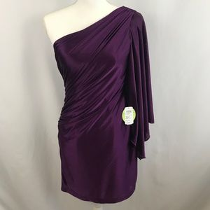 One Sleeve Adrianna Papell Purple Mini Dress